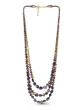 Three-Strand Beaded Necklace - Amethyst