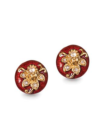 Floral Button Post Earrings - Siam