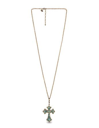 Cross Charm Necklace-Turquoise