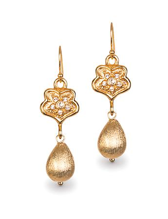 Gilded Victorian Hook Earrings - Gold