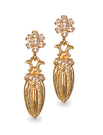 Gilded Scarab Drop Post Earrings - Gold