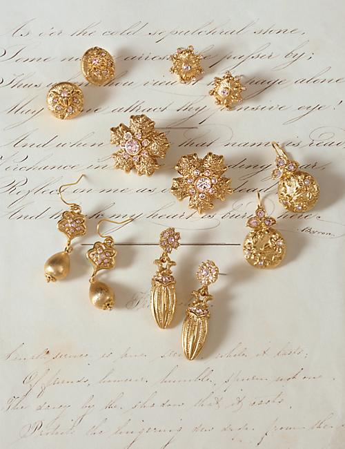 Gilded Floral Lever Back Earrings - Gold