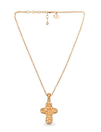 Gilded Floral Cross Pendant - Gold