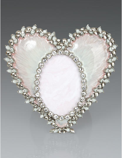 Dominique Enamel Heart Frame - Pale Pink