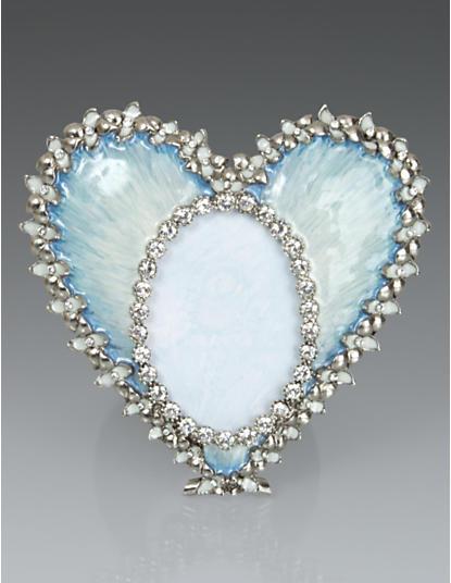 Dominique Enamel Heart Frame - Pale Blue