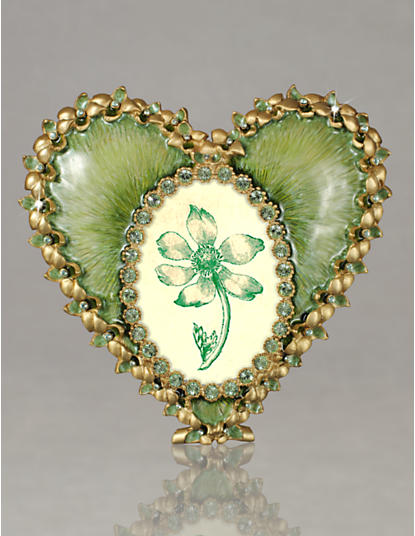 Dominique Enamel Heart Frame - Leaf
