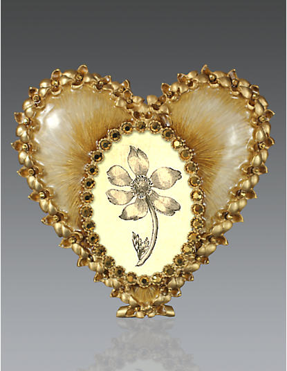Dominique Enamel Heart Frame - Golden