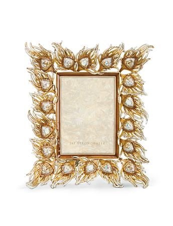 "Ferdinand Peacock Feather 5"" x 7"" Frame -Golden"