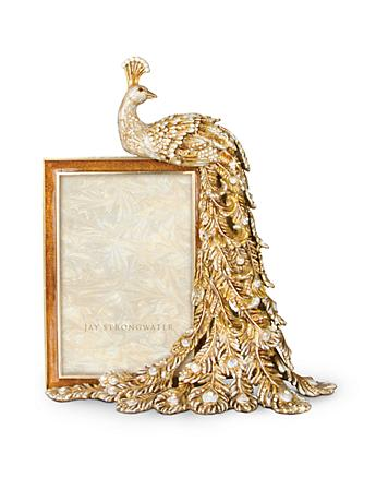 "Alexi Peacock Figurine 4"" x 6"" Frame - Golden"