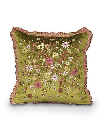 "Mille Fiori 14"" x 14"" Pillow - Rose Celadon"