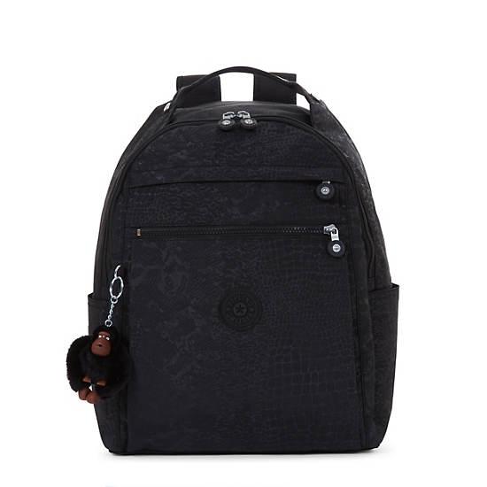Micah Printed Medium Laptop Backpack,Black Croc,large