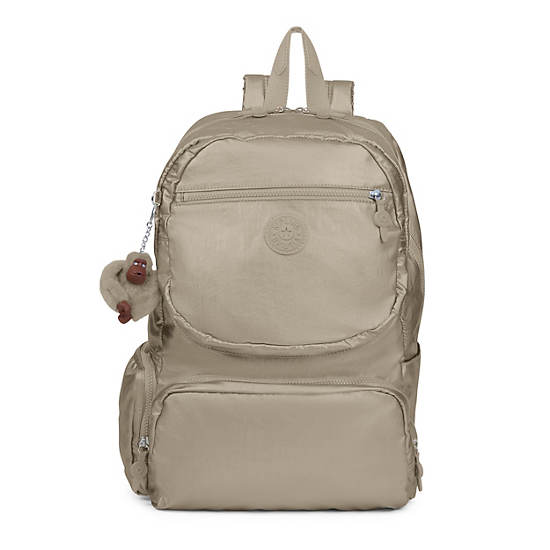 Dawson Large Metallic Laptop Backpack,Metallic Pewter,large