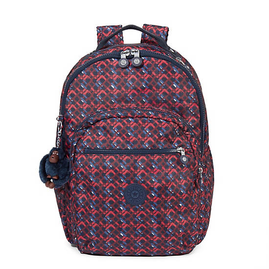 Seoul Large Printed Laptop Backpack,Groovy Lines,large