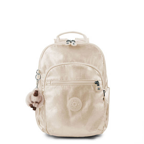 Seoul Small Metallic Backpack,Sparkly Gold,large