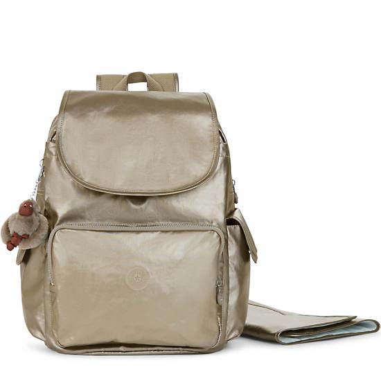 Zax Metallic Backpack Diaper Bag,Metallic Pewter,large