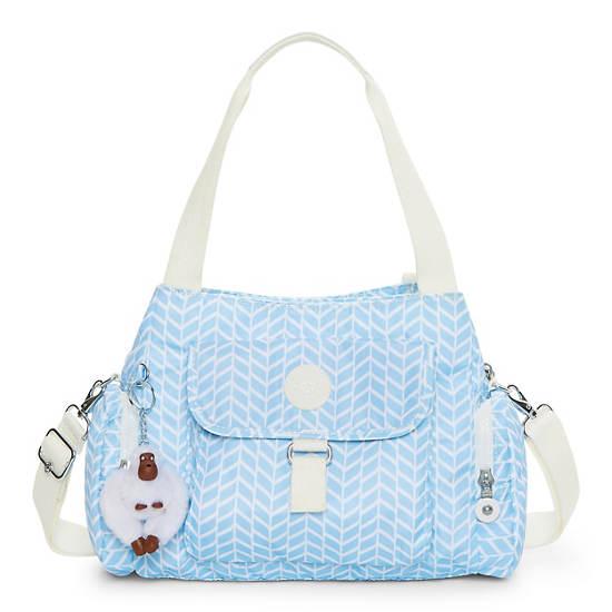 Felix Printed Handbag,Chevron Pool Blue,large