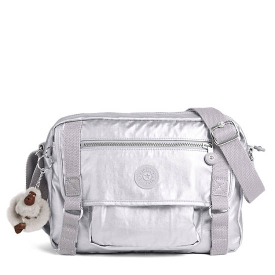 Gracy Crossbody Bag,Platinum Metallic,large