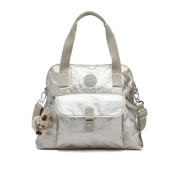 Pahneiro Metallic Handbag,Silver Beige,large