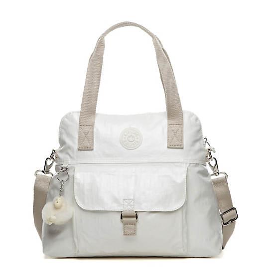 Pahneiro Medium Coated Handbag,Pearlized White,large