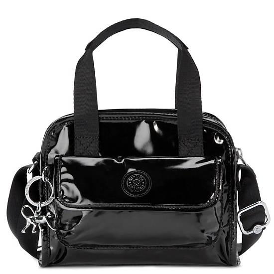 Defea Handbag,Black Patent,large