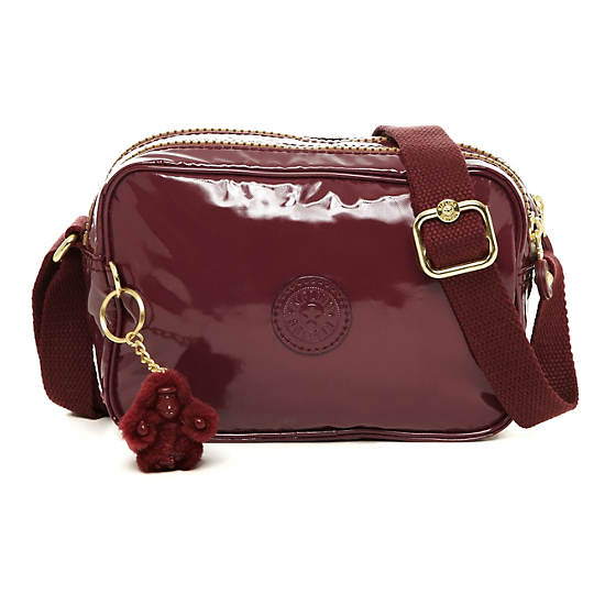 Dee Crossbody Bag,Patent Garnet,large