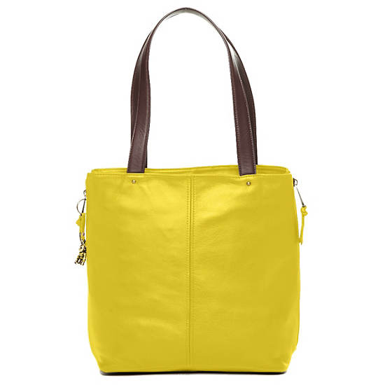 Hermine Leather Tote,Brilliant Yellow,large