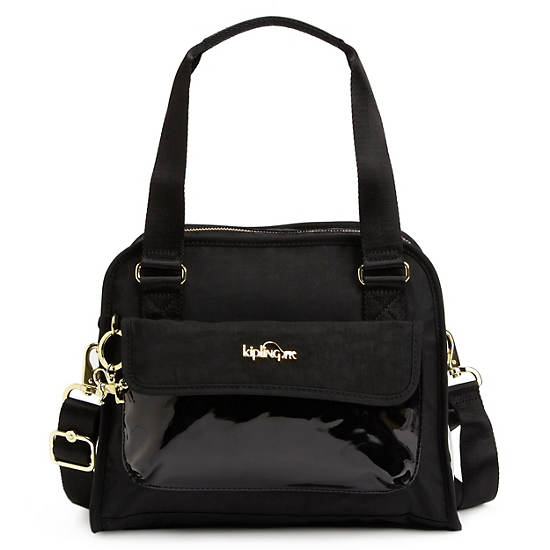 MAKAYLA COLOR BLOCK PATENT HANDBAG,Black Patent Combo,large