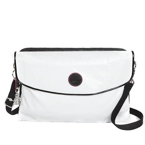 Drew Coated Crossbody Bag,Black Pearlized White Com,large