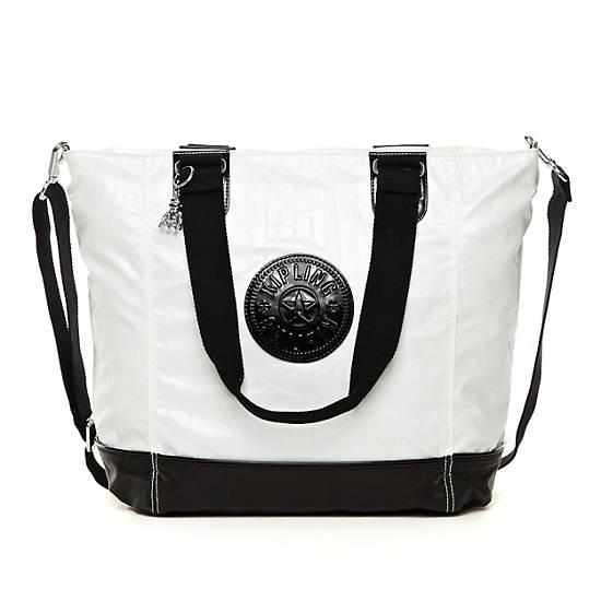 Shopper Combo Tote,Black Pearlized White Com,large