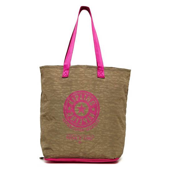 Hip Hurray Foldable Tote Bag,Rusty Khaki,large