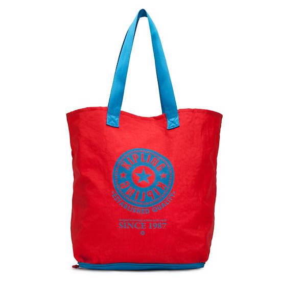 Hip Hurray Foldable Tote Bag,Blue Skies Metallic Stripe,large