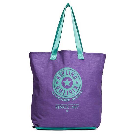 Hip Hurray Foldable Tote Bag,Purple/Turq,large