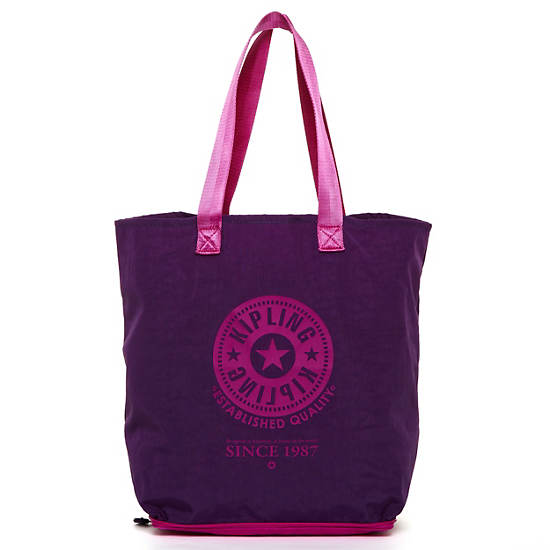 Hip Hurray Foldable Tote Bag,Purple Orchid,large