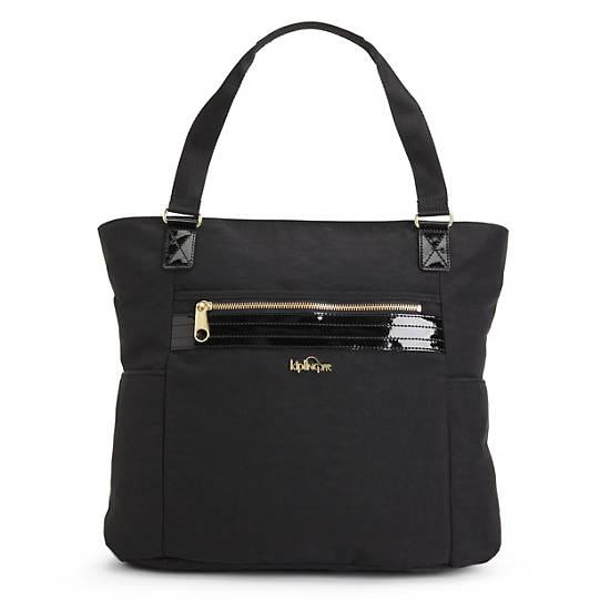 Leah Tote Bag,Black Patent Combo,large