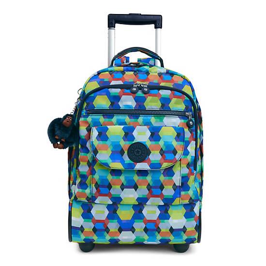 Sanaa Large Printed Rolling Backpack,Cheerful Sun,large