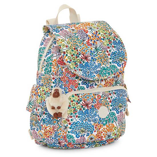 Ravier Medium Printed Backpack,Little Flower Blue,large