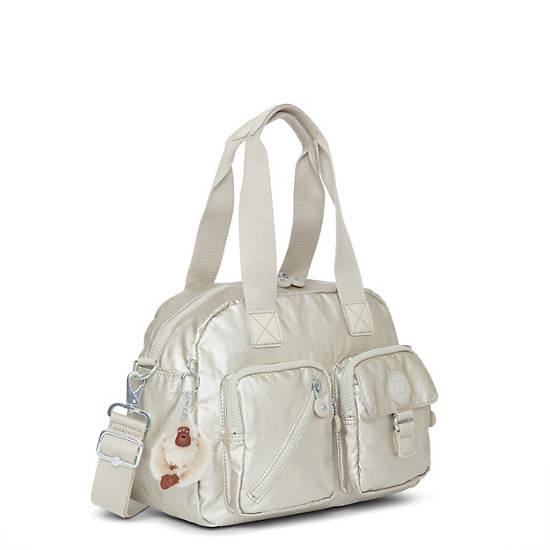 Defea Metallic Handbag,Silver Beige Snake,large