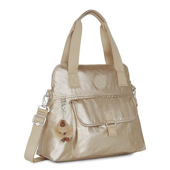 Pahneiro Metallic Handbag,Toasty Gold,large