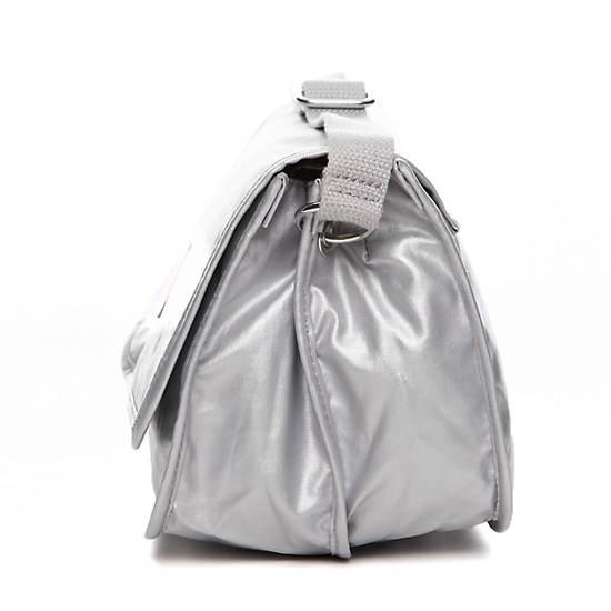 Louiza Metallic Crossbody Bag,Silver Metallic,large