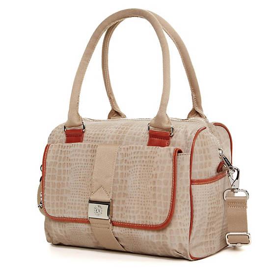 Double Up Handbag,Metallic Pewter Croc,large