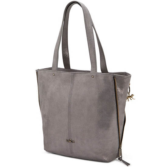 Hermine Leather Tote,Silver Leaf Metallic,large