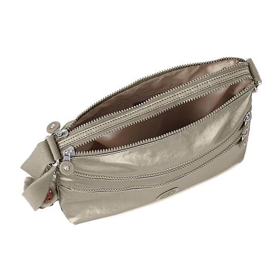 Alvar Metallic Crossbody Bag,Metallic Pewter,large