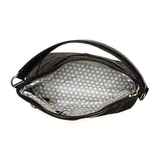 Sansa Handbag,Black Patent Combo,large