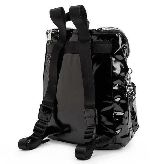 SHACKI PATENT BACKPACK,Black/White Combo,large