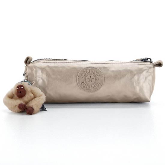 Fabian Metallic Cosmetics Bag/Pen Case,Silver Beige,large
