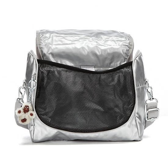 Kichirou Metallic Lunch Bag,Silver Metallic,large