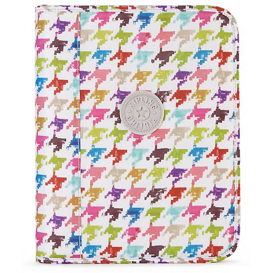 Ginny Printed Binder Cover,Houndstooth Multi,large