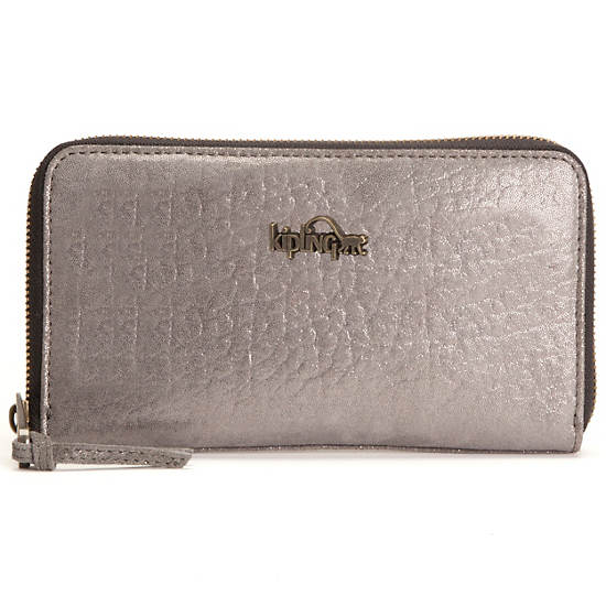 Alvis Leather Wallet,Silver Leaf Metallic,large