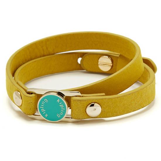 Leather Bracelet,Yellow,large