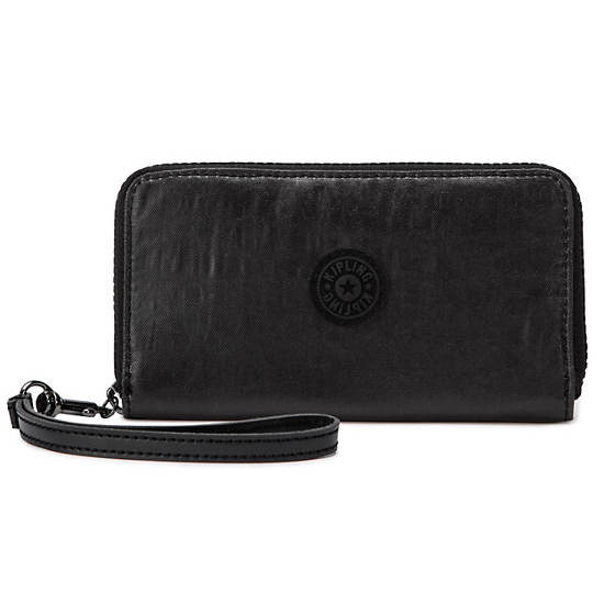 GIDEON COATED WALLET WRISTLET,Lacquer Black,large